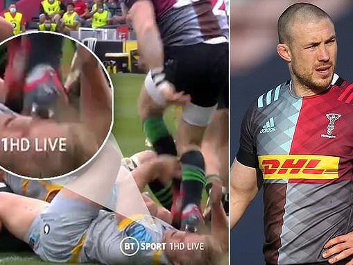 Mike Brown faces ban for his stamp on Tommy Taylor that could bring an end to his Harlequins career