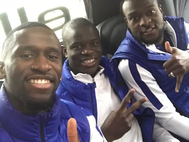 Photo: Naughty boys at the back of the Chelsea team bus en route to Liverpool