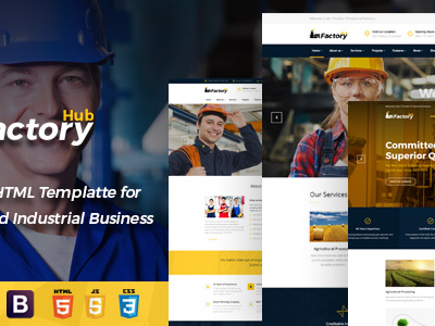 Factory HUB - Industry / Factory / Engineering and Industrial Business HTML Template (Business)