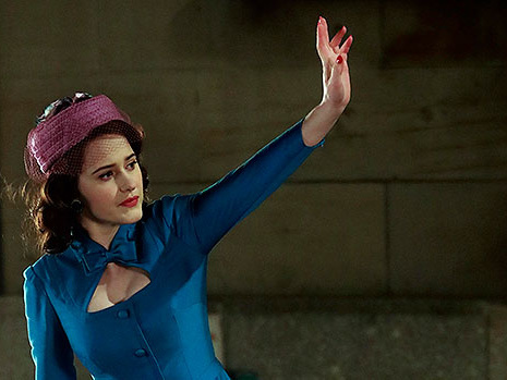 Rachel Brosnahan Stuns In Blue Dress & Pink Hat As 'Mrs. Maisel' While Shooting Upcoming Season — Pics