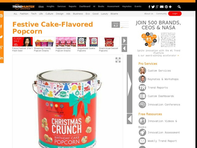 Festive Cake-Flavored Popcorn - Dylan's Christmas Crunch Popcorn is the Ultimate Holiday Snack Food (TrendHunter.com)