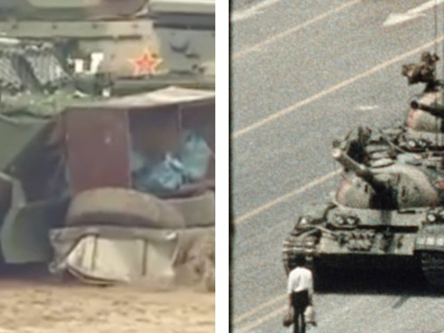Video of China's military practicing riot drills with tanks in Hong Kong bears similarities to army response to the infamous Tiananmen Square protests