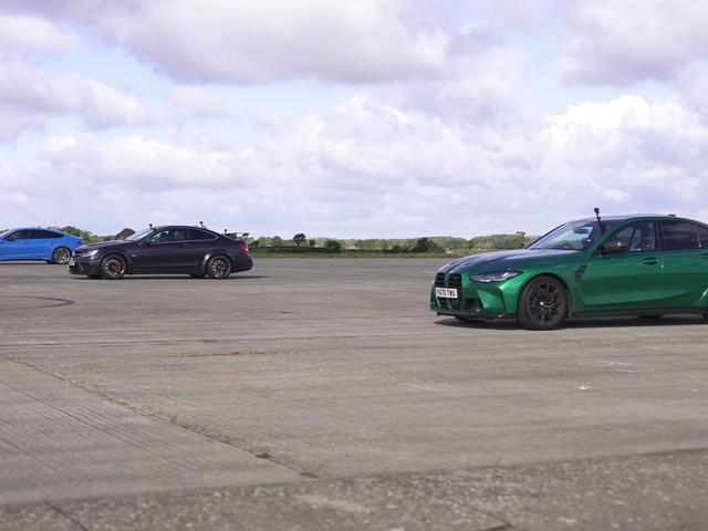 2021 BMW M3 vs. Audi RS 5 vs. C 63 Black Series Drag Race Ends Rather Predictably