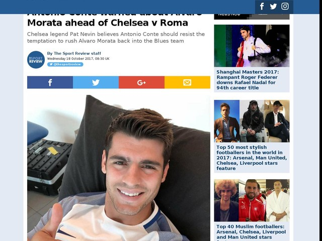 Antonio Conte warned about Alvaro Morata ahead of Chelsea v Roma