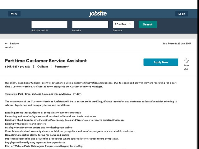 Part time Customer Service Assistant