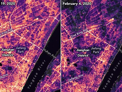 NASA satellite images show how China's lockdown during the coronavirus dimmed Wuhan