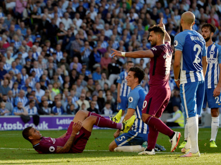 Aguero gets Man City up and running at Brighton