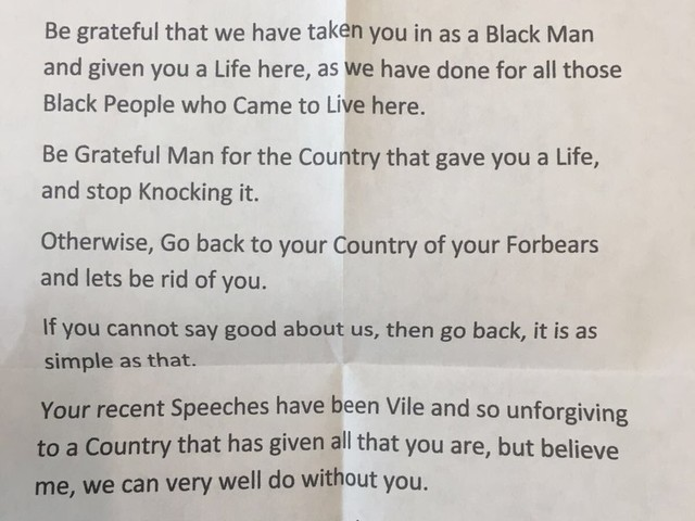 A Labour MP is being targeted with racist mail after Windrush scandal