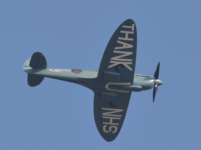 See the NHS Spitfire soar over the North East during Tuesday's fly-past
