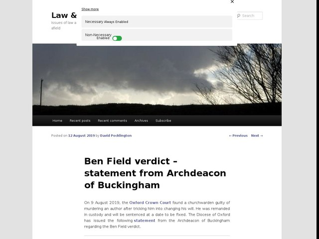 Ben Field verdict – statement from Archdeacon of Buckingham