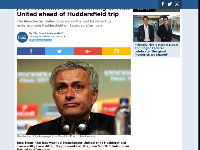 Jose Mourinho sends warning to Man United ahead of Huddersfield trip