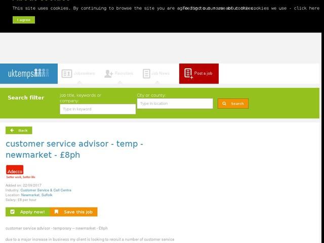 customer service advisor - temp - newmarket - £8ph