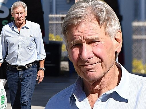 Harrison Ford cuts a casual figure in denim with a button up top as he leaves bicycle shop in LA