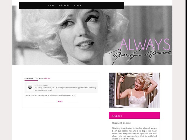 hi, sorry to bother you but do you know what happened to the blog ourmarilynmonroe?