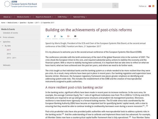 Building on the achievements of post-crisis reforms - European Union