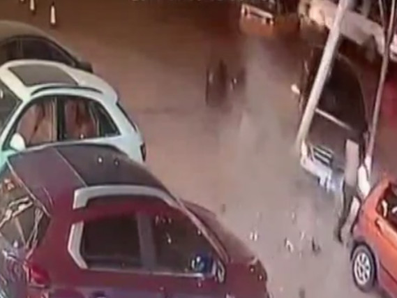 Watch man escape death twice in seconds after avoiding out of control car