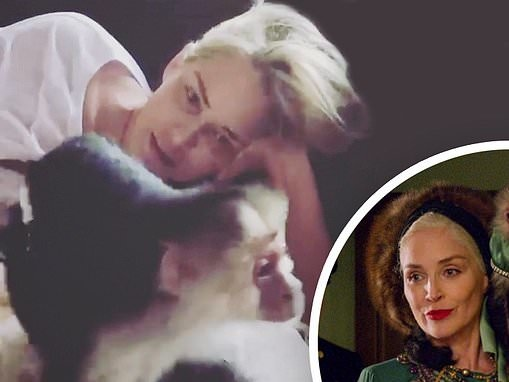 Sharon Stone, 62, shares a video where she first meets her Ratched co-star, Pablo the monkey