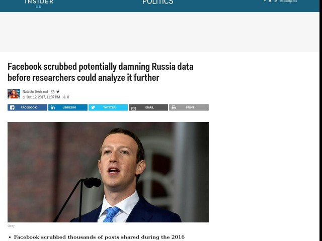 Facebook scrubbed potentially damning Russia data before researchers could analyze it further