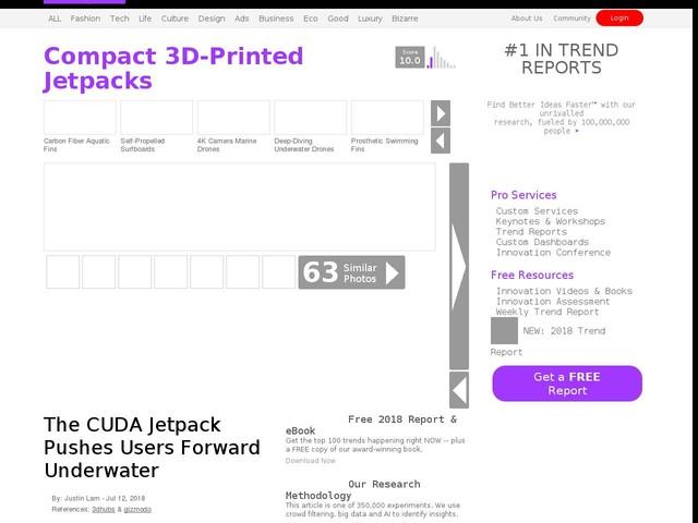 Compact 3D-Printed Jetpacks - The CUDA Jetpack Pushes Users Forward Underwater (TrendHunter.com)
