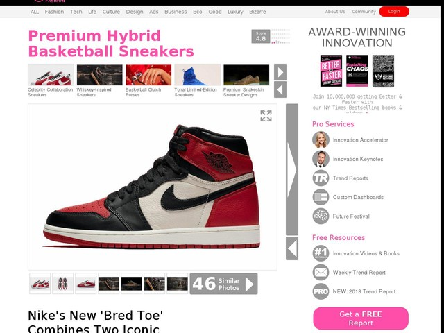 Premium Hybrid Basketball Sneakers - Nike's New 'Bred Toe' Combines Two Iconic Silhouettes (TrendHunter.com)