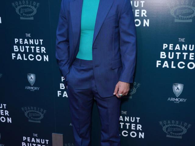 Shia LaBeouf Looks Good In Blue For 'The Peanut Butter Falcon' LA Screening