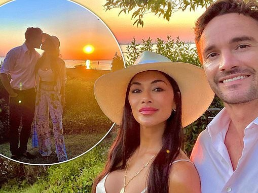 Nicole Scherzinger leans in for a kiss with beau Thom Evans in loved-up snaps from Venice getaway