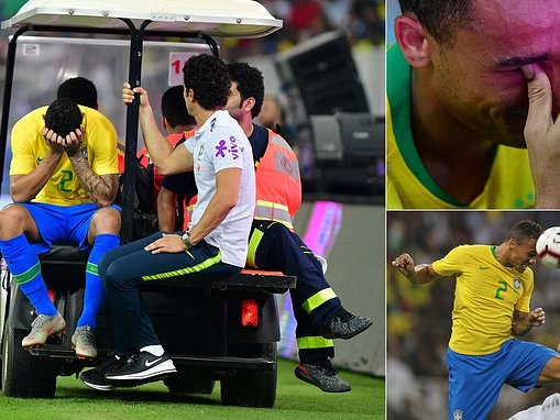 Brazil star Danilo leaves the field in tears as Manchester City man suffers ankle injury