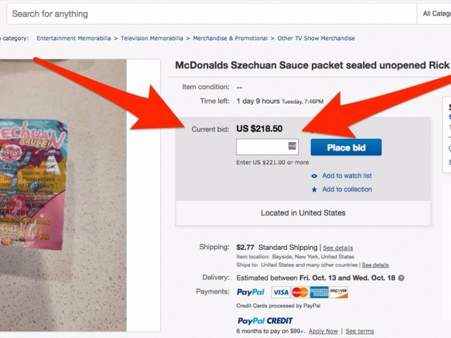 McDonald's is facing backlash after failing to provide enough Szechuan sauce — now packets are selling for hundreds of dollars on eBay (MCD)