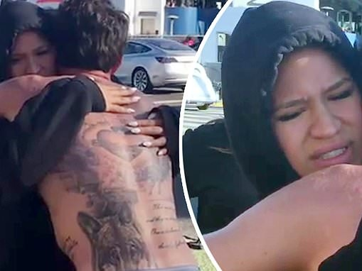 Cassie beams in a warm embrace with fiancé Alex Fine after he runs for a cause