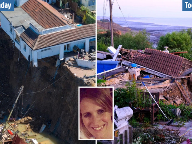 Mum's 'dream house' left hanging on cliff edge FALLS OFF overnight in devastating collapse