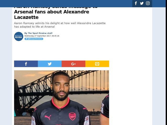 Aaron Ramsey sends message to Arsenal fans about Alexandre Lacazette