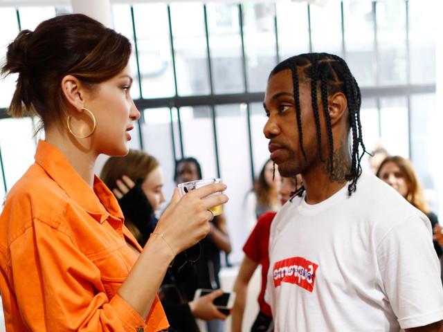 Bella Hadid & Travis Scott Chat It Up During Paris Fashion Week