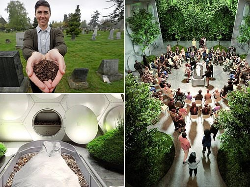 Eco-friendly human compost burials where bodies of the dead reach 55°C and rot away in 30 days