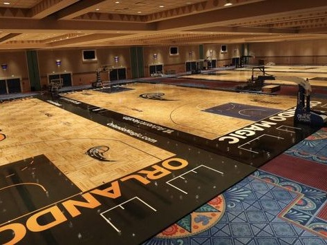 The NBA turned Disney ballrooms into multiple practice courts