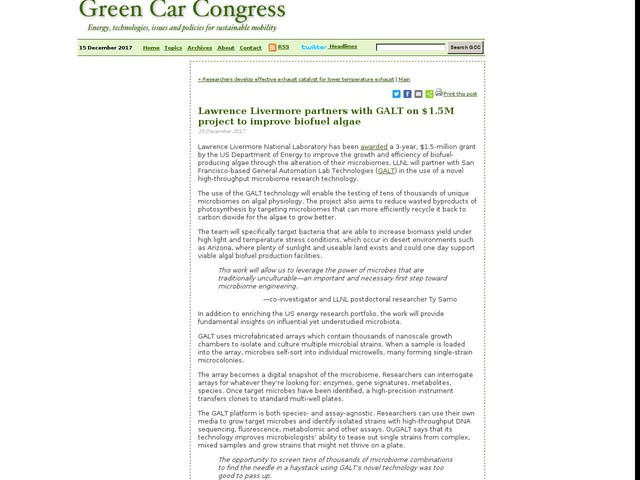 Lawrence Livermore partners with GALT on $1.5M project to improve biofuel algae