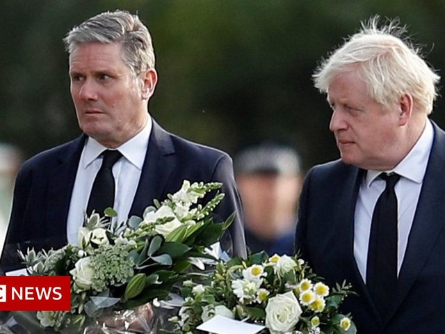 Sir David Amess: Johnson and Starmer lay flowers for killed MP