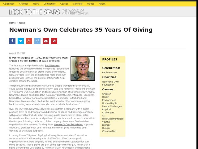 Newman's Own Celebrates 35 Years Of Giving