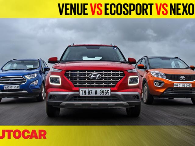 Review: Hyundai Venue vs EcoSport vs Nexon petrol AT video comparison