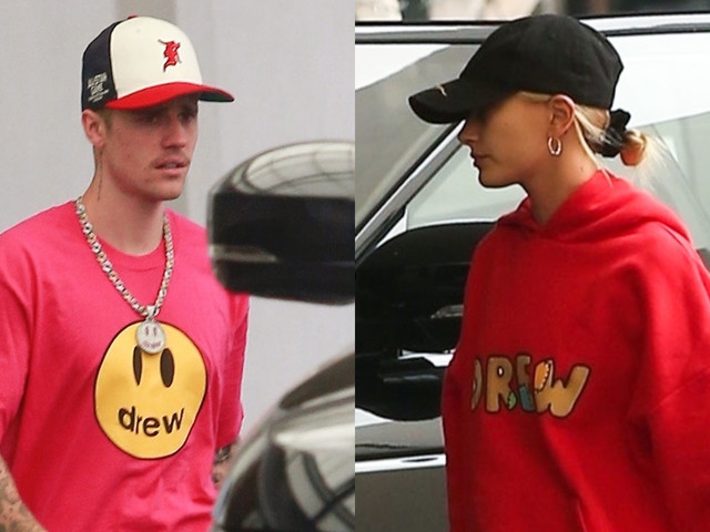 Justin & Hailey Bieber Pop in Red Outfits While Running Errands