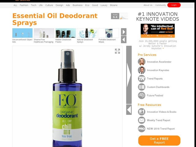 Essential Oil Deodorant Sprays - EO Products Makes Spray-On Deodorants Powered by Natural Essences (TrendHunter.com)