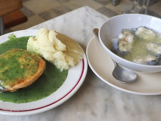 We tried traditional pie and mash with jellied eels at one of London's oldest fast food restaurants