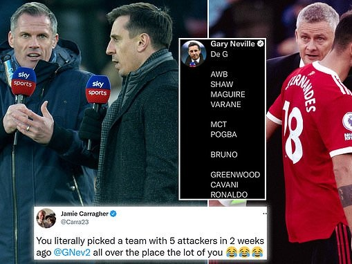 Jamie Carragher mocks Gary Neville for picking an attacking Man United team three weeks ago