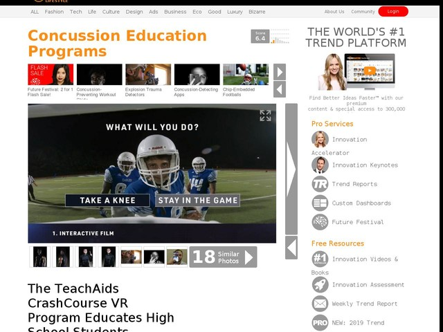 Concussion Education Programs - The TeachAids CrashCourse VR Program Educates High School Students (TrendHunter.com)