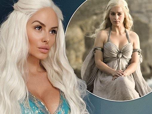 Rhian Sugden channels Game Of Thrones character Daenerys Targaryen in blonde wig