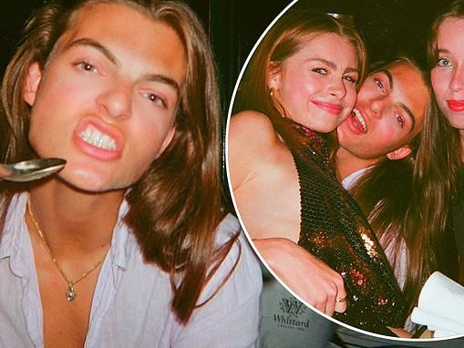 Damian Hurley enjoys the 'happiest night' as he reunites with his friends at a dinner party