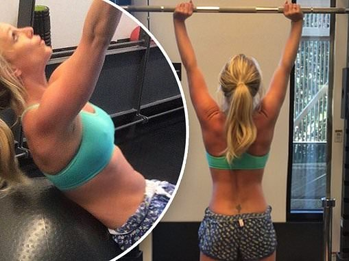 Britney Spears shows off her taut bod at the gym as she shares an inspirational message