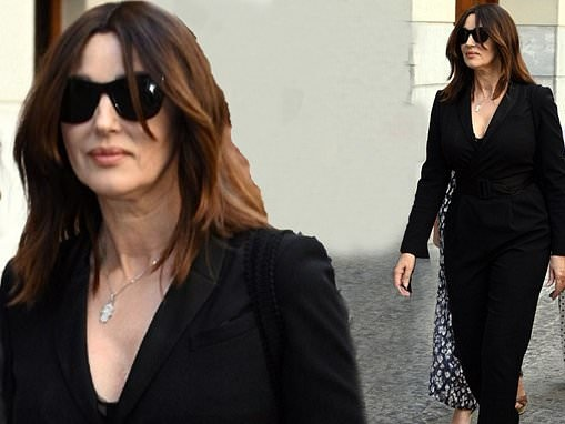 Monica Bellucci, 56, cuts a stylish figure in a black blazer and matching trousers