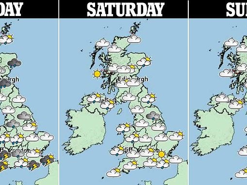 Thunderstorms and 50mph winds are set to tear through the UK today with an inch of rain