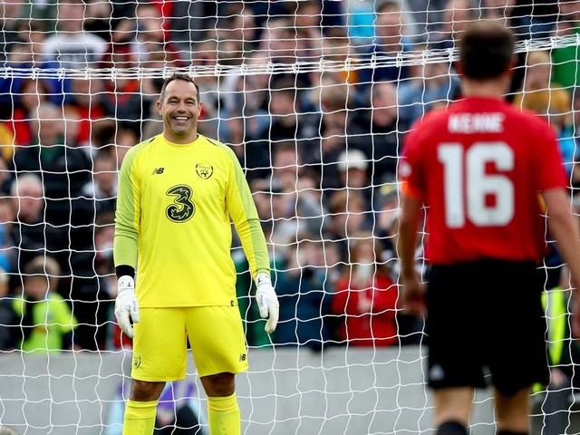 Roy Keane has penalty saved by David Forde in Liam Miller tribute match and can't help but smile