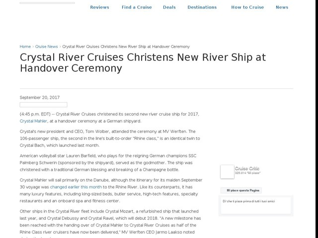 Crystal River Cruises Christens New River Ship at Handover Ceremony